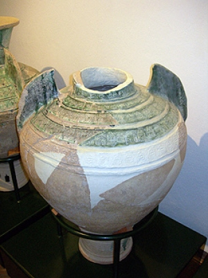 Water pot with glaze and stamped decoration