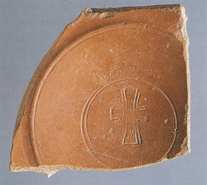 Late hispanic terra sigillata fragment with Chi Rho