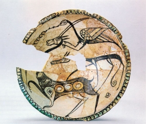 Bowl with hunting scene