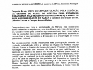 Assembleia Municipal de Mértola concede Voto de Louvor ao CAM