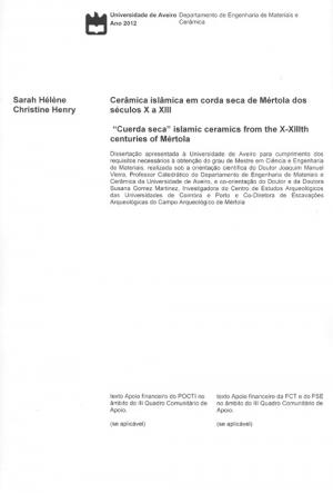 """Cerâmica islâmica em corda seca de Mértola dos séculos X a XIII = """"Cuerda seca"""""""