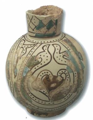 Bilha com representação de flor de lótus